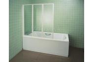 Ravak VS3 130 vaňová zástena, trojdielne sklápacie dvere, Biela, číre sklo