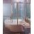 Ravak VSK2 ROSA 140 L vaňová zástena, Ľavá, otočný a pevný diel, Biela, výplň vzor Rain
