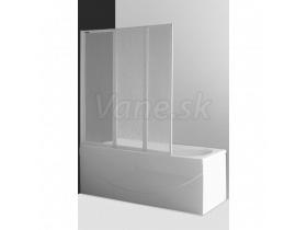 Vaňová zástena PH3 140x140cm, 3-dielna sklápacia, biely profil, číre sklo