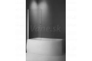 Vaňová zástena TV1 75x140cm, obojstranne otvárateľná, strieborný profil, číre sklo
