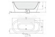 Polysan MATRIX W voľne stojaca vaňa 175x80x46cm drevená konštrukcia svetlý dub, biela