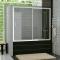 Ronal Vaňové posuvné dvere s pevnou stenou v rovine 1800x1500, Aluchróm, sklo Mastercarré