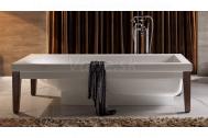 Sapho BENTLEY voľne stojaca keramická vaňa 180x80 cm biela/drevo
